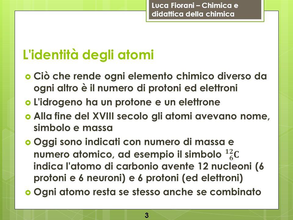 Luca Fiorani – Chimica e didattica della chimica L'identità degli atomi 3