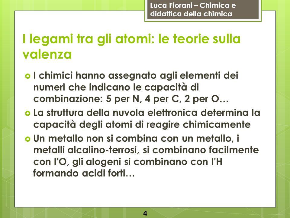 Luca Fiorani – Chimica e didattica della chimica I legami tra gli atomi: le teorie sulla valenza I chimici hanno assegnato agli elementi dei numeri ch