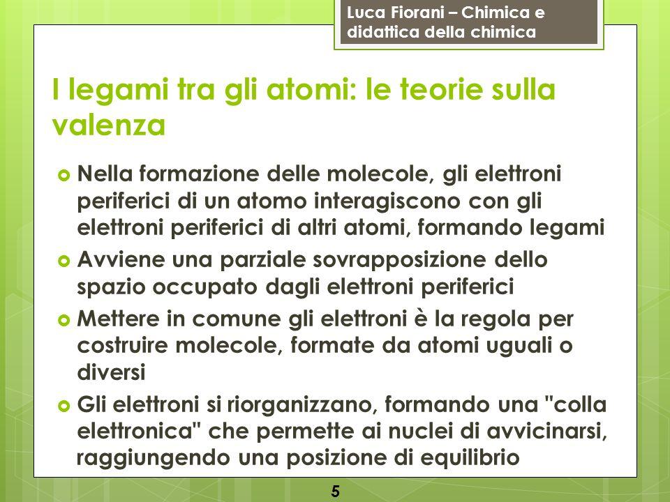 Luca Fiorani – Chimica e didattica della chimica I legami tra gli atomi: le teorie sulla valenza Nella formazione delle molecole, gli elettroni perife