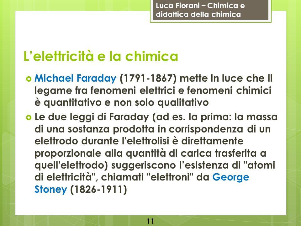 Luca Fiorani – Chimica e didattica della chimica Lelettricità e la chimica Michael Faraday (1791-1867) mette in luce che il legame fra fenomeni elettr