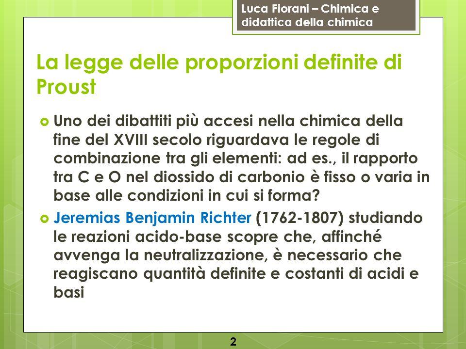 Luca Fiorani – Chimica e didattica della chimica La legge delle proporzioni definite di Proust Uno dei dibattiti più accesi nella chimica della fine d