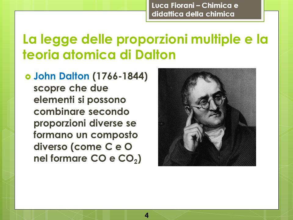 Luca Fiorani – Chimica e didattica della chimica La legge delle proporzioni multiple e la teoria atomica di Dalton John Dalton (1766-1844) scopre che