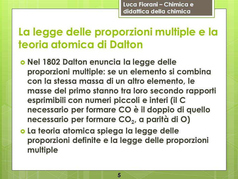 Luca Fiorani – Chimica e didattica della chimica La legge delle proporzioni multiple e la teoria atomica di Dalton Nel 1802 Dalton enuncia la legge de