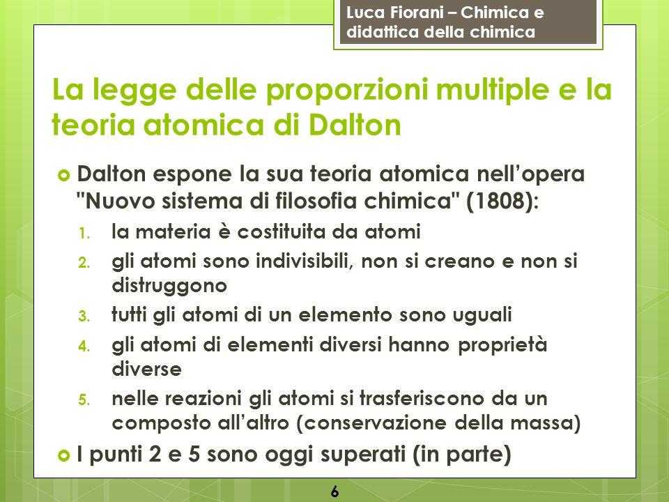 Luca Fiorani – Chimica e didattica della chimica La legge delle proporzioni multiple e la teoria atomica di Dalton Dalton espone la sua teoria atomica