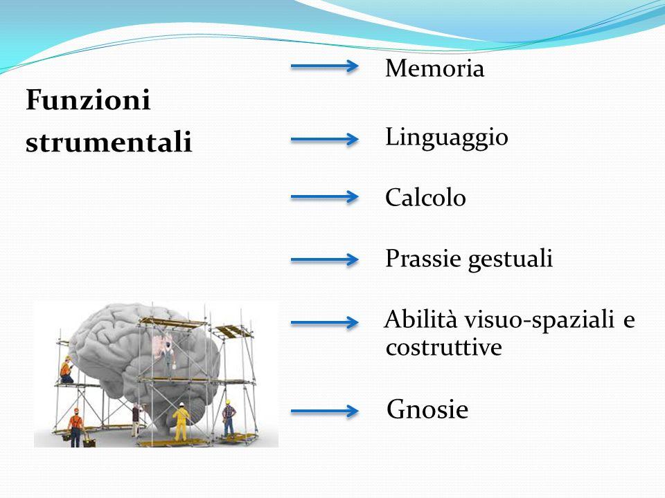 Funzioni strumentali Memoria Linguaggio Calcolo Prassie gestuali Abilità visuo-spaziali e costruttive Gnosie