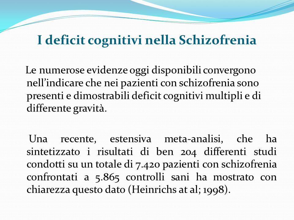 I deficit cognitivi nella Schizofrenia Le numerose evidenze oggi disponibili convergono nellindicare che nei pazienti con schizofrenia sono presenti e dimostrabili deficit cognitivi multipli e di differente gravità.
