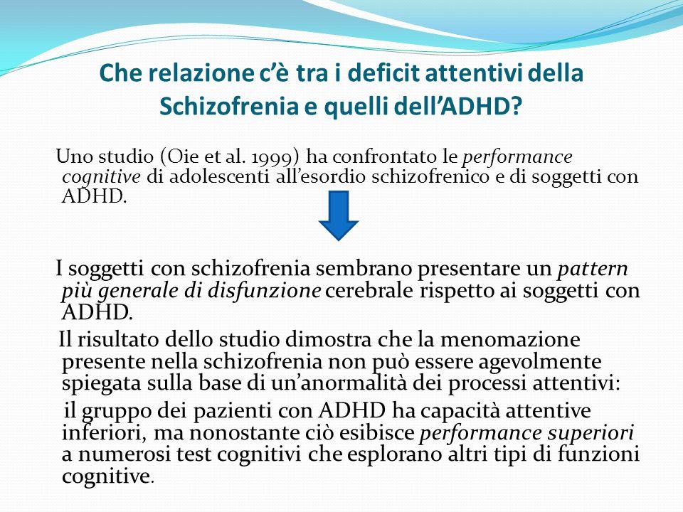 Che relazione cè tra i deficit attentivi della Schizofrenia e quelli dellADHD.