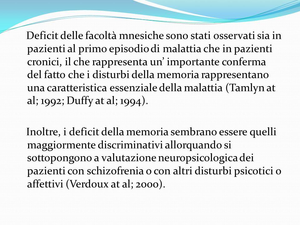 Deficit delle facoltà mnesiche sono stati osservati sia in pazienti al primo episodio di malattia che in pazienti cronici, il che rappresenta un importante conferma del fatto che i disturbi della memoria rappresentano una caratteristica essenziale della malattia (Tamlyn at al; 1992; Duffy at al; 1994).