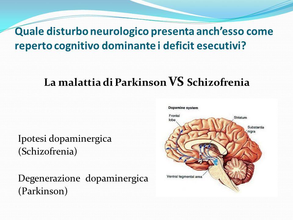 Quale disturbo neurologico presenta anchesso come reperto cognitivo dominante i deficit esecutivi.