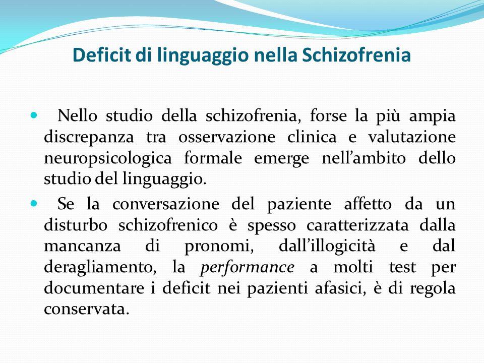 Deficit di linguaggio nella Schizofrenia Nello studio della schizofrenia, forse la più ampia discrepanza tra osservazione clinica e valutazione neuropsicologica formale emerge nellambito dello studio del linguaggio.