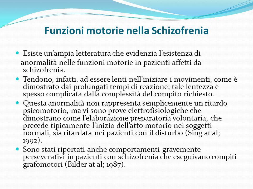 Funzioni motorie nella Schizofrenia Esiste unampia letteratura che evidenzia lesistenza di anormalità nelle funzioni motorie in pazienti affetti da schizofrenia.