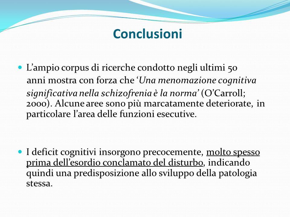 Conclusioni Lampio corpus di ricerche condotto negli ultimi 50 anni mostra con forza che Una menomazione cognitiva significativa nella schizofrenia è la norma (OCarroll; 2000).