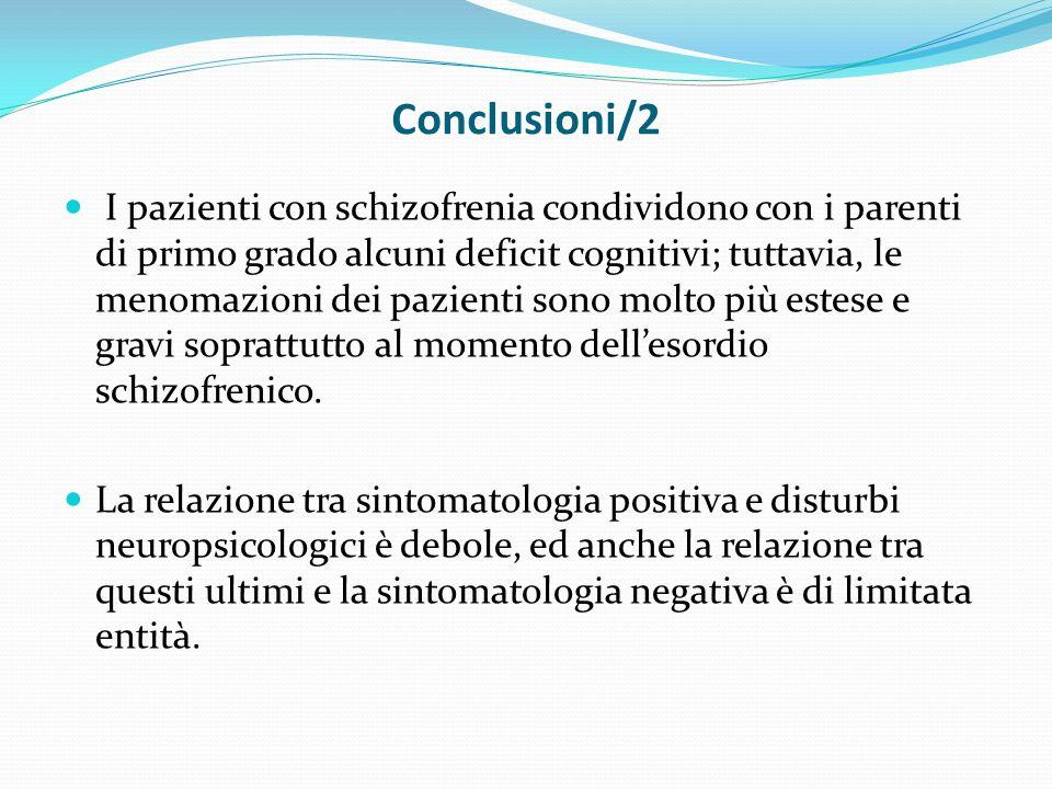 Conclusioni/2 I pazienti con schizofrenia condividono con i parenti di primo grado alcuni deficit cognitivi; tuttavia, le menomazioni dei pazienti sono molto più estese e gravi soprattutto al momento dellesordio schizofrenico.