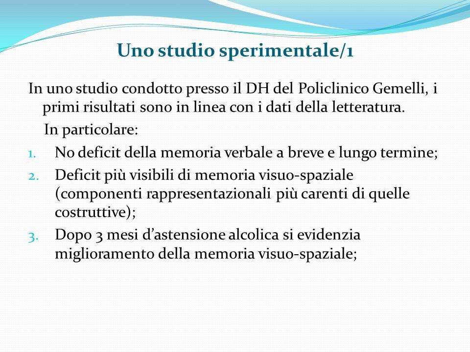 Uno studio sperimentale/1 In uno studio condotto presso il DH del Policlinico Gemelli, i primi risultati sono in linea con i dati della letteratura.