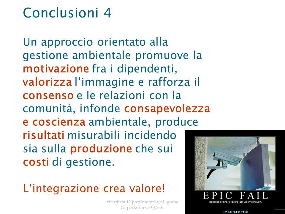 Struttura Dipartimentale di Igiene Ospedaliera e Q.S.A.20 Conclusioni 4 Un approccio orientato alla gestione ambientale promuove la motivazione fra i