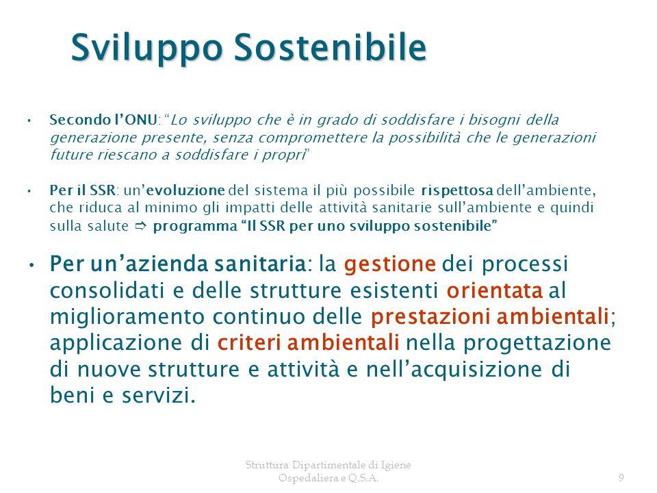 Struttura Dipartimentale di Igiene Ospedaliera e Q.S.A.10 Perché lo Sviluppo sostenibile: Benefici per la COLLETTIVITÀ: omiglioramento della qualità dellambiente, con effetti positivi sui determinanti ambientali di salute; odiffusione della consapevolezza che levoluzione delle attività umane non può prescindere dalla loro sostenibilità ambientale, economica e sociale; per le AZIENDE: omaggiore efficienza del sistema (utilizzo delle risorse), omigliore controllo dei processi, maggiore ocoinvolgimento delle persone (responsabilizzazione)