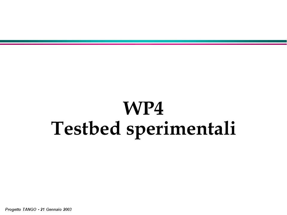 Progetto TANGO - 21 Gennaio 2003 WP4 Testbed sperimentali