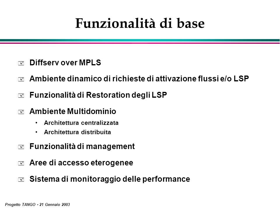Progetto TANGO - 21 Gennaio 2003 Funzionalità di base + Diffserv over MPLS + Ambiente dinamico di richieste di attivazione flussi e/o LSP + Funzionali
