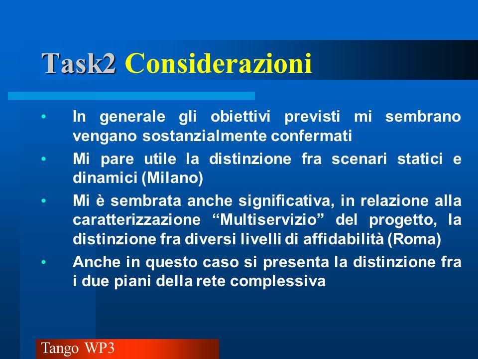 Tango WP3 Task2 Task2 Considerazioni Andrebbe chiarito meglio, talvolta, se si opera in ambito pianificazione (protezione), rispristino o instradamento dinamico.