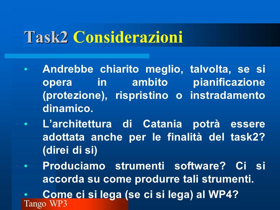 Tango WP3 Task2 Task2 Considerazioni Andrebbe chiarito meglio, talvolta, se si opera in ambito pianificazione (protezione), rispristino o instradament