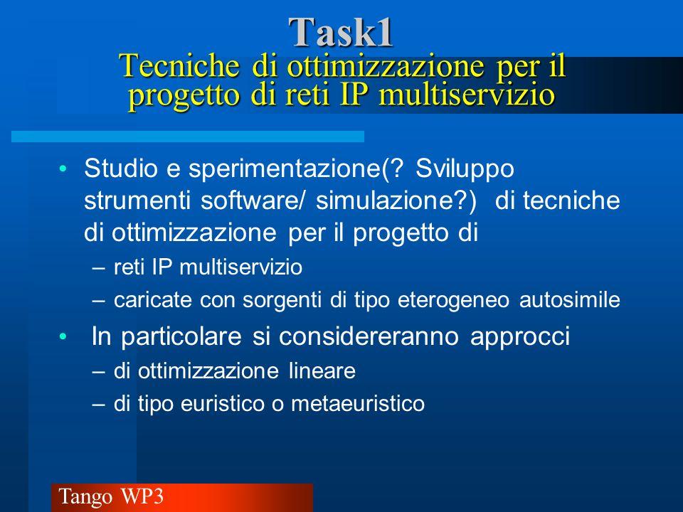 Tango WP3 Task1 Tecniche di ottimizzazione per il progetto di reti IP multiservizio Si svilupperà il software relativo agli algoritmi considerati per fornire strumenti che supportino ed agevolino le operazioni di progettazione, pianificazione e dimensionamento.