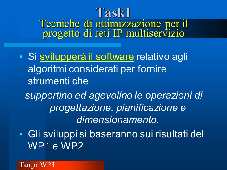 Tango WP3 Task1 Task1 Struttura Economica SedeMesi/ uomo Costo- Euro Genova618%3118% Milano926%5129% Catania926%4426% Torino1029%4727% Totale34173