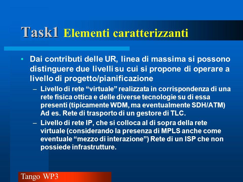Tango WP3 Task1 Task1 Elementi caratterizzanti Altri aspetti importanti da evidenziare: –Il diretto riferimento di alcune sedi al lavoro fatto nel WP1 e WP2 (in particolare per il progetto del livello di rete IP) –Luso di tecniche euristiche, meta-eristiche o di ottimizzazione lineare –La presenza di lavori pregressi in corso o linizio di un nuovo filone – Lintenzione esplicita di sviluppare degli strumenti software