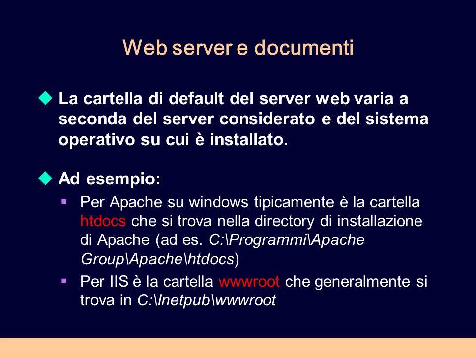 Web server e documenti La cartella di default del server web varia a seconda del server considerato e del sistema operativo su cui è installato. Ad es