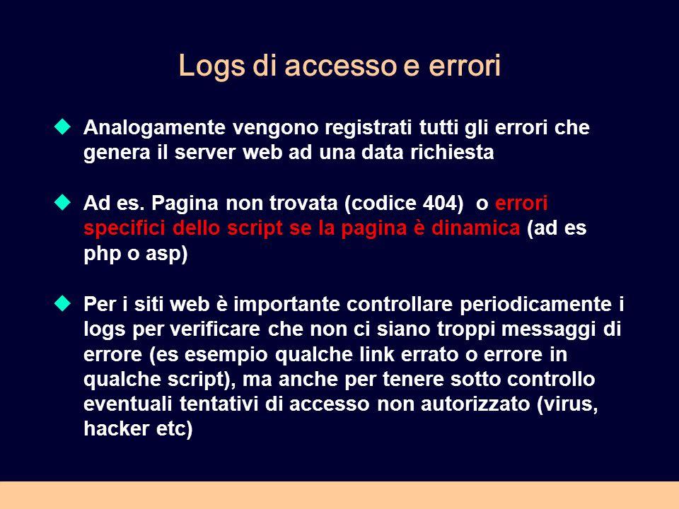 Logs di accesso e errori Analogamente vengono registrati tutti gli errori che genera il server web ad una data richiesta Ad es. Pagina non trovata (co