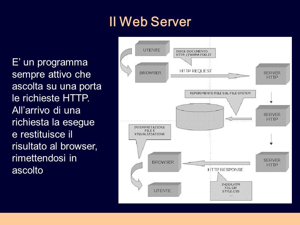 Il Web Server E un programma sempre attivo che ascolta su una porta le richieste HTTP. Allarrivo di una richiesta la esegue e restituisce il risultato