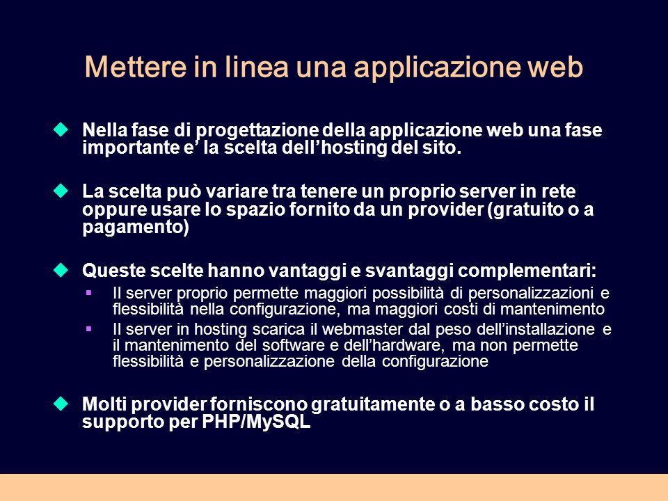 Mettere in linea una applicazione web Nella fase di progettazione della applicazione web una fase importante e la scelta dellhosting del sito. La scel