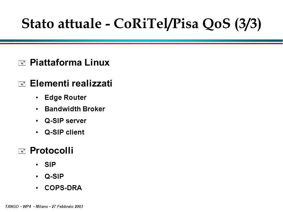 TANGO - WP4 - Milano - 27 Febbraio 2003 Stato attuale - CoRiTel/Pisa QoS (3/3) + Piattaforma Linux + Elementi realizzati Edge Router Bandwidth Broker Q-SIP server Q-SIP client + Protocolli SIP Q-SIP COPS-DRA