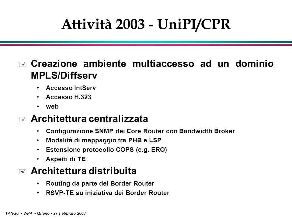 TANGO - WP4 - Milano - 27 Febbraio 2003 Attività 2003 - UniPI/CPR + Creazione ambiente multiaccesso ad un dominio MPLS/Diffserv Accesso IntServ Accesso H.323 web + Architettura centralizzata Configurazione SNMP dei Core Router con Bandwidth Broker Modalità di mappaggio tra PHB e LSP Estensione protocollo COPS (e.g.
