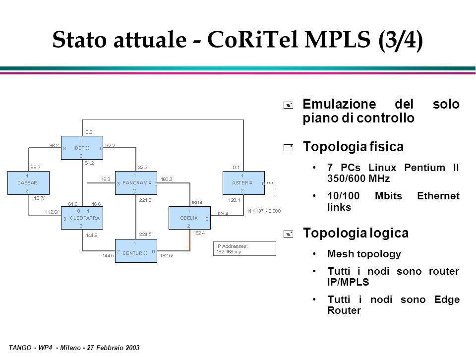 TANGO - WP4 - Milano - 27 Febbraio 2003 Stato attuale - CoRiTel MPLS (3/4) + Emulazione del solo piano di controllo + Topologia fisica 7 PCs Linux Pentium II 350/600 MHz 10/100 Mbits Ethernet links + Topologia logica Mesh topology Tutti i nodi sono router IP/MPLS Tutti i nodi sono Edge Router