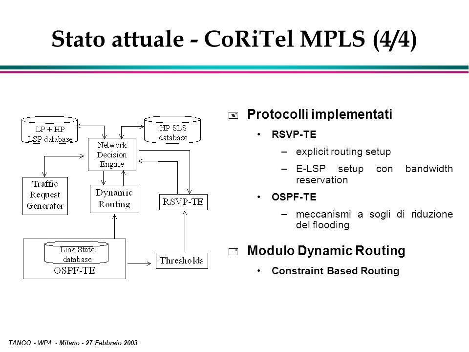 TANGO - WP4 - Milano - 27 Febbraio 2003 Stato attuale - CoRiTel MPLS (4/4) + Protocolli implementati RSVP-TE –explicit routing setup –E-LSP setup con bandwidth reservation OSPF-TE –meccanismi a sogli di riduzione del flooding + Modulo Dynamic Routing Constraint Based Routing