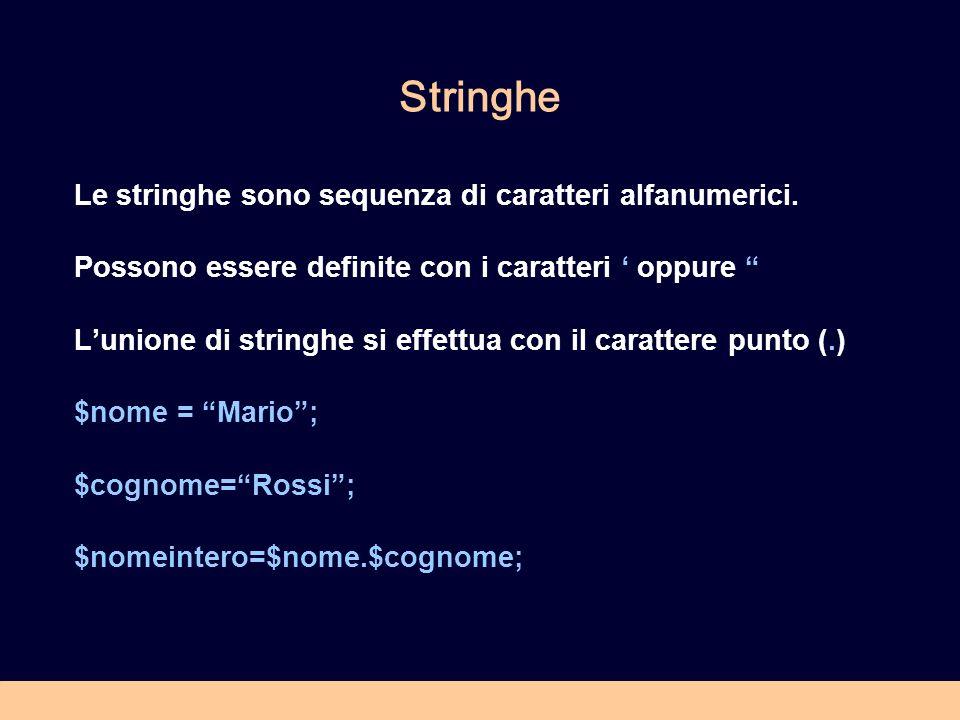 Stringhe Le stringhe sono sequenza di caratteri alfanumerici. Possono essere definite con i caratteri oppure Lunione di stringhe si effettua con il ca