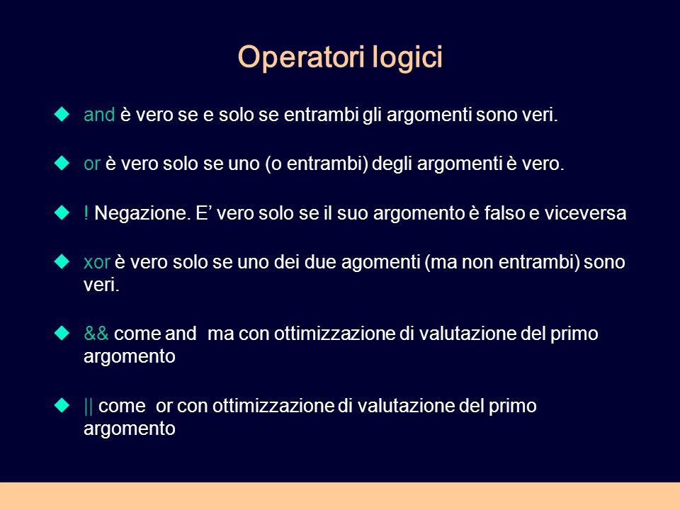 Operatori logici and è vero se e solo se entrambi gli argomenti sono veri. or è vero solo se uno (o entrambi) degli argomenti è vero. ! Negazione. E v