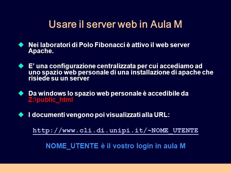 Usare il server web in Aula M Nei laboratori di Polo Fibonacci è attivo il web server Apache. E una configurazione centralizzata per cui accediamo ad