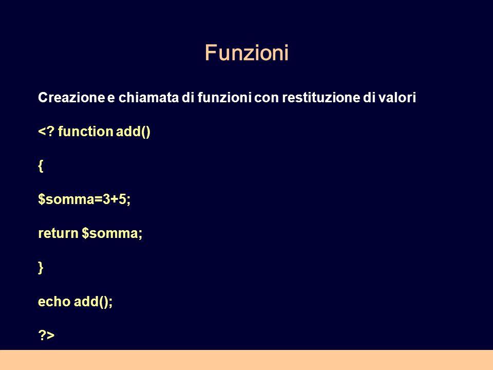 Funzioni Creazione e chiamata di funzioni con restituzione di valori <.