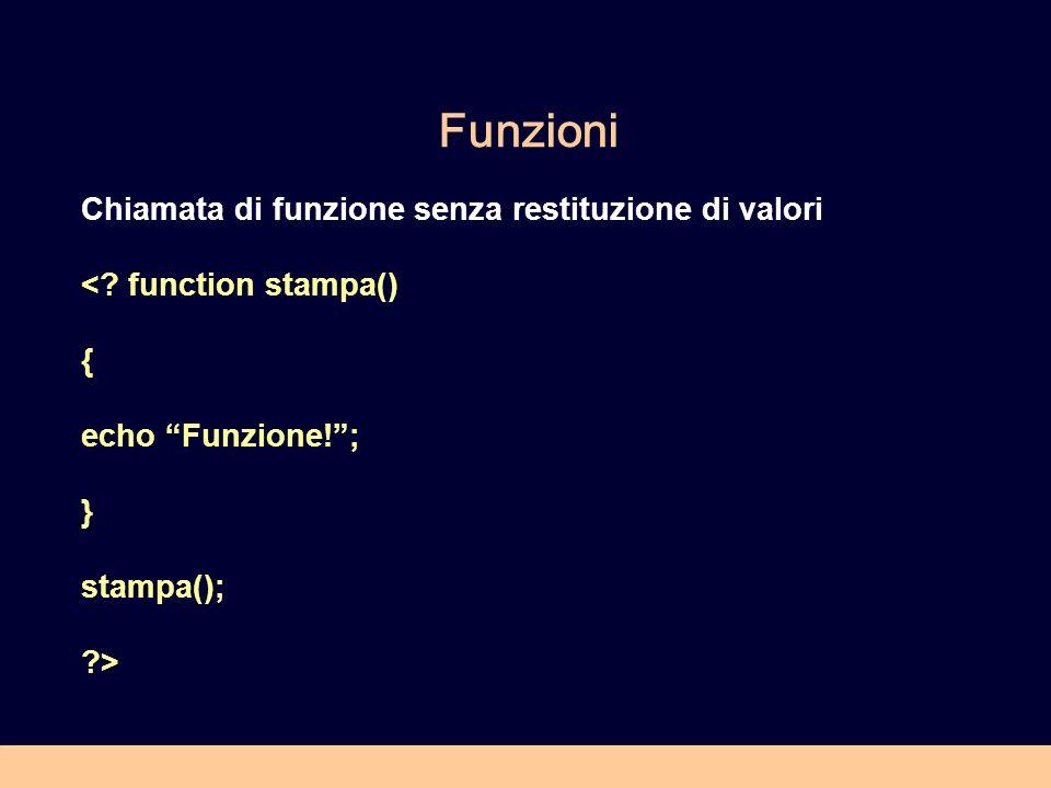 Funzioni Chiamata di funzione senza restituzione di valori <? function stampa() { echo Funzione!; } stampa(); ?>