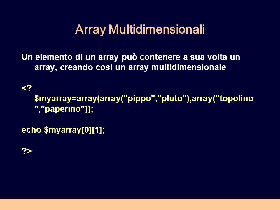 Esercizio 3.2 In riferimento allarray $myarray definito nellesercizio precedente (pippo,pluto,.....), realizzare uno script php per ordinare larray (funzione sort): Eseguire una stampa di tutti gli elementi dellarray, eseguire il sort, ristampare tutti gli elementi.