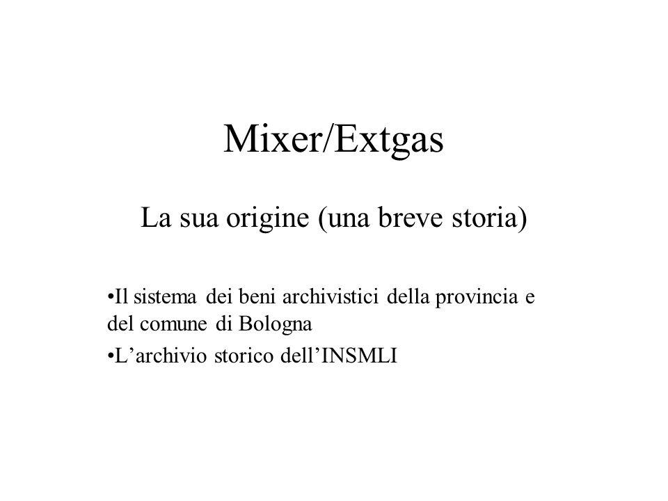 Mixer/Extgas La sua origine (una breve storia) Il sistema dei beni archivistici della provincia e del comune di Bologna Larchivio storico dellINSMLI