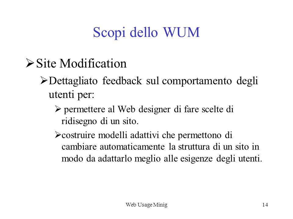 Web Usage Minig14 Scopi dello WUM Site Modification Dettagliato feedback sul comportamento degli utenti per: permettere al Web designer di fare scelte