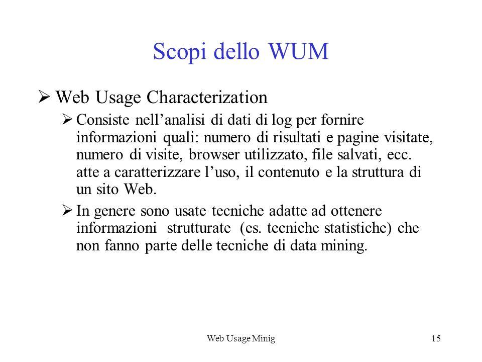 Web Usage Minig15 Scopi dello WUM Web Usage Characterization Consiste nellanalisi di dati di log per fornire informazioni quali: numero di risultati e
