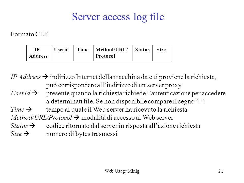 Web Usage Minig21 Server access log file IP Address indirizzo Internet della macchina da cui proviene la richiesta, può corrispondere allindirizzo di