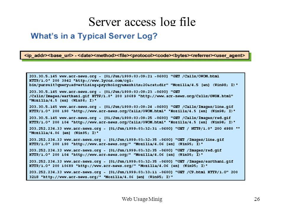 Web Usage Minig26 Server access log file