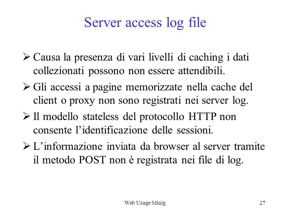 Web Usage Minig27 Server access log file Causa la presenza di vari livelli di caching i dati collezionati possono non essere attendibili. Gli accessi