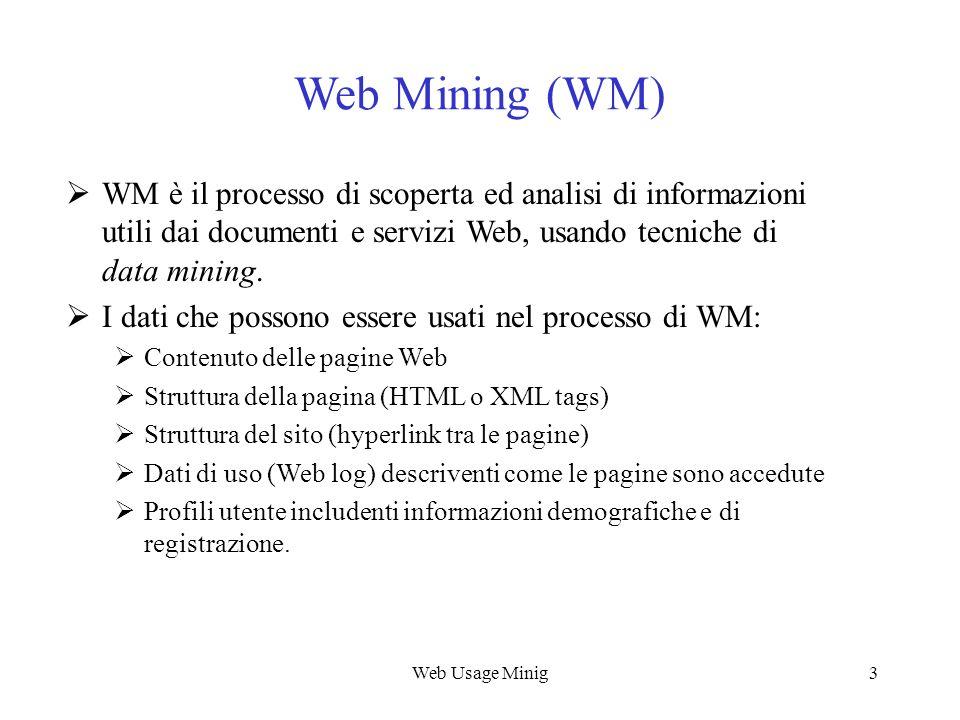 Web Usage Minig3 Web Mining (WM) WM è il processo di scoperta ed analisi di informazioni utili dai documenti e servizi Web, usando tecniche di data mi
