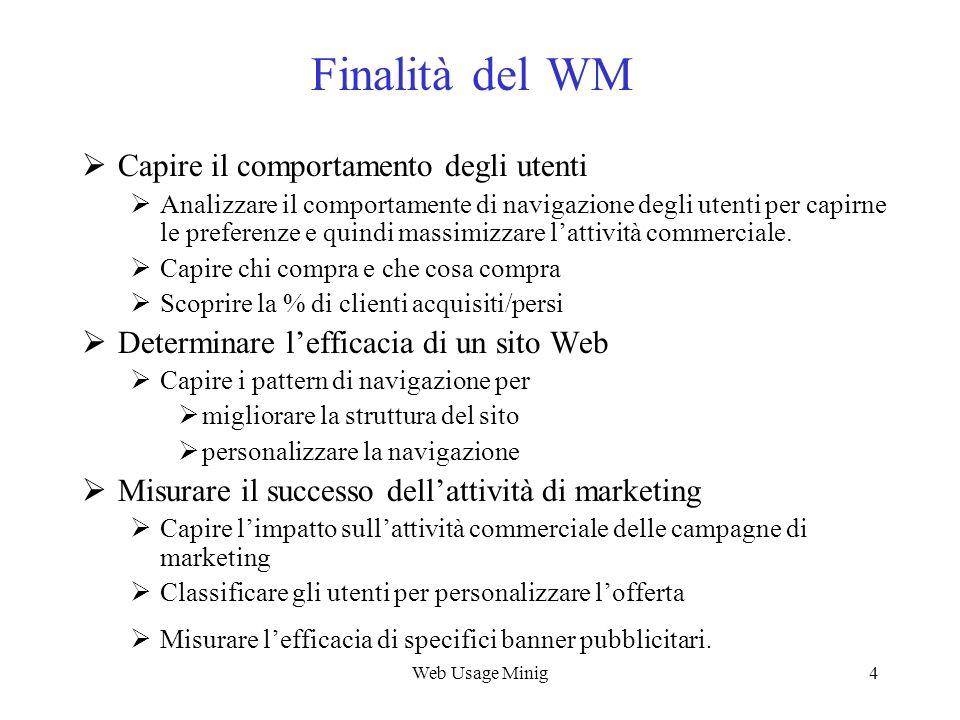 Web Usage Minig15 Scopi dello WUM Web Usage Characterization Consiste nellanalisi di dati di log per fornire informazioni quali: numero di risultati e pagine visitate, numero di visite, browser utilizzato, file salvati, ecc.