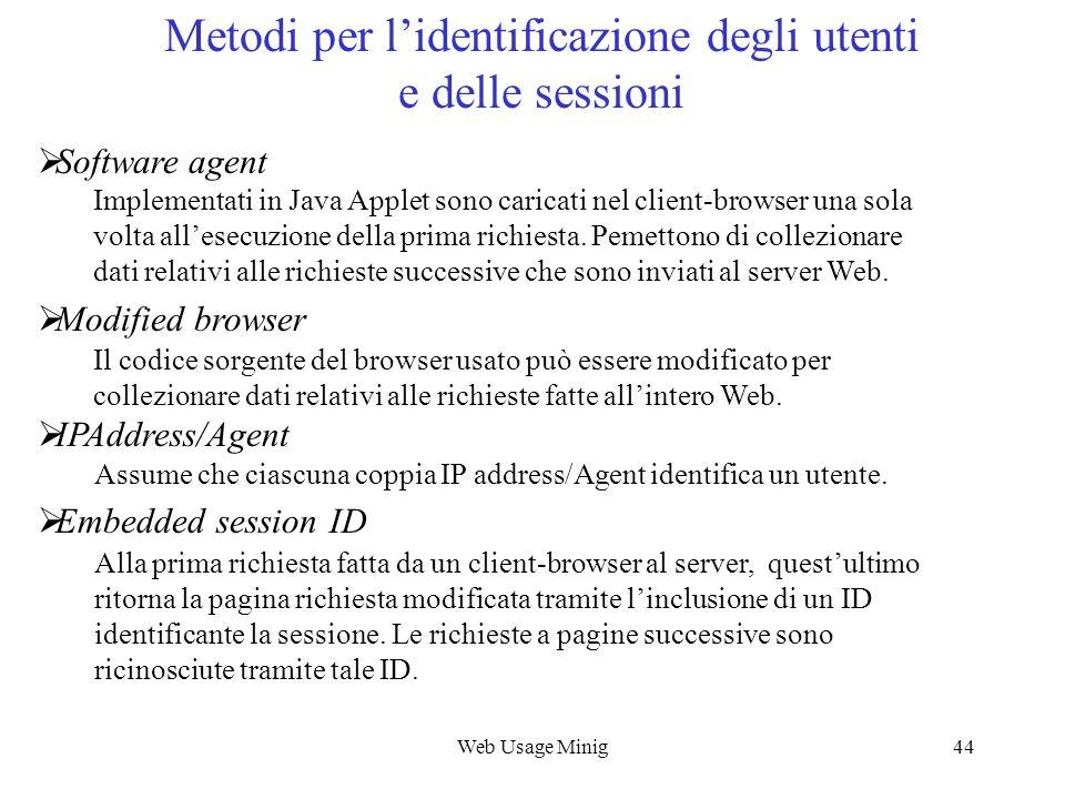 Web Usage Minig44 Metodi per lidentificazione degli utenti e delle sessioni Software agent Implementati in Java Applet sono caricati nel client-browse